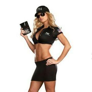 6pc Sexy FBI Agent Halloween Costume